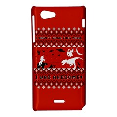 I Wasn t Good This Year, I Was Awesome! Ugly Holiday Christmas Red Background Sony Xperia J