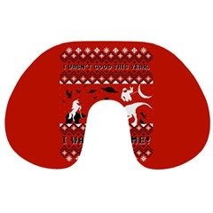 I Wasn t Good This Year, I Was Awesome! Ugly Holiday Christmas Red Background Travel Neck Pillows