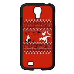 I Wasn t Good This Year, I Was Awesome! Ugly Holiday Christmas Red Background Samsung Galaxy S4 I9500/ I9505 Case (Black)