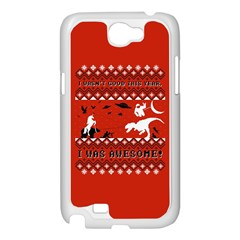 I Wasn t Good This Year, I Was Awesome! Ugly Holiday Christmas Red Background Samsung Galaxy Note 2 Case (White)