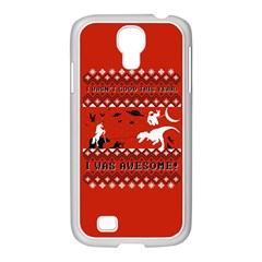 I Wasn t Good This Year, I Was Awesome! Ugly Holiday Christmas Red Background Samsung GALAXY S4 I9500/ I9505 Case (White)
