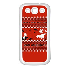 I Wasn t Good This Year, I Was Awesome! Ugly Holiday Christmas Red Background Samsung Galaxy S3 Back Case (White)