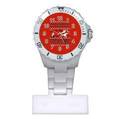 I Wasn t Good This Year, I Was Awesome! Ugly Holiday Christmas Red Background Plastic Nurses Watch