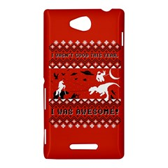 I Wasn t Good This Year, I Was Awesome! Ugly Holiday Christmas Red Background Sony Xperia C (S39H)