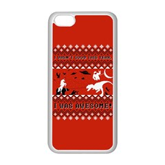 I Wasn t Good This Year, I Was Awesome! Ugly Holiday Christmas Red Background Apple iPhone 5C Seamless Case (White)