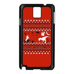 I Wasn t Good This Year, I Was Awesome! Ugly Holiday Christmas Red Background Samsung Galaxy Note 3 N9005 Case (Black)