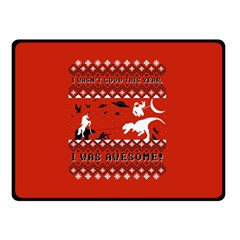 I Wasn t Good This Year, I Was Awesome! Ugly Holiday Christmas Red Background Double Sided Fleece Blanket (Small)