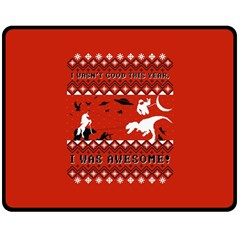 I Wasn t Good This Year, I Was Awesome! Ugly Holiday Christmas Red Background Double Sided Fleece Blanket (Medium)