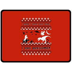 I Wasn t Good This Year, I Was Awesome! Ugly Holiday Christmas Red Background Double Sided Fleece Blanket (Large)