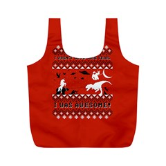 I Wasn t Good This Year, I Was Awesome! Ugly Holiday Christmas Red Background Full Print Recycle Bags (m)