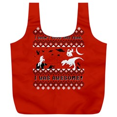 I Wasn t Good This Year, I Was Awesome! Ugly Holiday Christmas Red Background Full Print Recycle Bags (L)