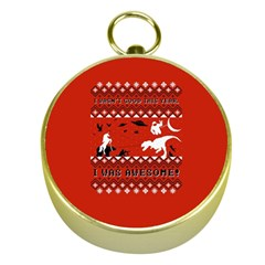 I Wasn t Good This Year, I Was Awesome! Ugly Holiday Christmas Red Background Gold Compasses