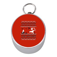I Wasn t Good This Year, I Was Awesome! Ugly Holiday Christmas Red Background Mini Silver Compasses