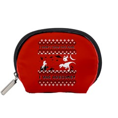 I Wasn t Good This Year, I Was Awesome! Ugly Holiday Christmas Red Background Accessory Pouches (Small)