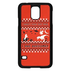 I Wasn t Good This Year, I Was Awesome! Ugly Holiday Christmas Red Background Samsung Galaxy S5 Case (Black)