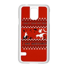 I Wasn t Good This Year, I Was Awesome! Ugly Holiday Christmas Red Background Samsung Galaxy S5 Case (White)