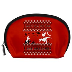 I Wasn t Good This Year, I Was Awesome! Ugly Holiday Christmas Red Background Accessory Pouches (Large)
