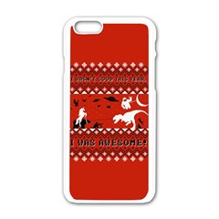 I Wasn t Good This Year, I Was Awesome! Ugly Holiday Christmas Red Background Apple iPhone 6/6S White Enamel Case