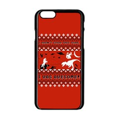 I Wasn t Good This Year, I Was Awesome! Ugly Holiday Christmas Red Background Apple iPhone 6/6S Black Enamel Case