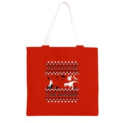 I Wasn t Good This Year, I Was Awesome! Ugly Holiday Christmas Red Background Grocery Light Tote Bag