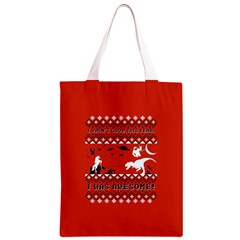 I Wasn t Good This Year, I Was Awesome! Ugly Holiday Christmas Red Background Classic Light Tote Bag