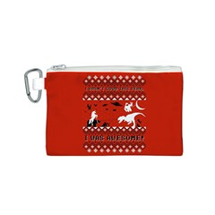 I Wasn t Good This Year, I Was Awesome! Ugly Holiday Christmas Red Background Canvas Cosmetic Bag (S)