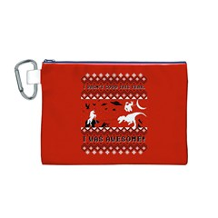 I Wasn t Good This Year, I Was Awesome! Ugly Holiday Christmas Red Background Canvas Cosmetic Bag (M)