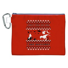 I Wasn t Good This Year, I Was Awesome! Ugly Holiday Christmas Red Background Canvas Cosmetic Bag (XXL)