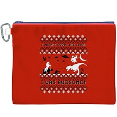I Wasn t Good This Year, I Was Awesome! Ugly Holiday Christmas Red Background Canvas Cosmetic Bag (XXXL)