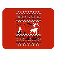 I Wasn t Good This Year, I Was Awesome! Ugly Holiday Christmas Red Background Double Sided Flano Blanket (Large)