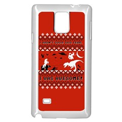 I Wasn t Good This Year, I Was Awesome! Ugly Holiday Christmas Red Background Samsung Galaxy Note 4 Case (White)