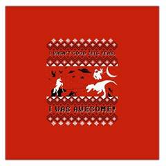I Wasn t Good This Year, I Was Awesome! Ugly Holiday Christmas Red Background Large Satin Scarf (Square)