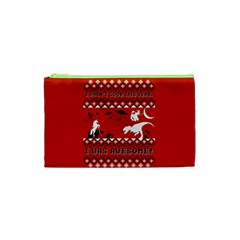 I Wasn t Good This Year, I Was Awesome! Ugly Holiday Christmas Red Background Cosmetic Bag (XS)