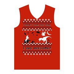 I Wasn t Good This Year, I Was Awesome! Ugly Holiday Christmas Red Background Men s Basketball Tank Top
