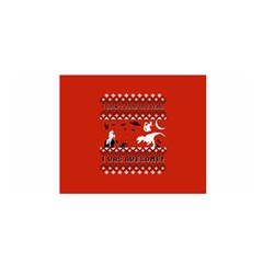 I Wasn t Good This Year, I Was Awesome! Ugly Holiday Christmas Red Background Satin Wrap