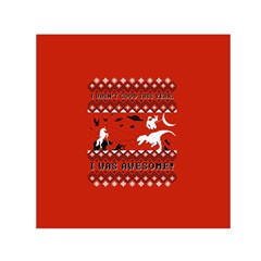 I Wasn t Good This Year, I Was Awesome! Ugly Holiday Christmas Red Background Small Satin Scarf (Square)