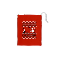 I Wasn t Good This Year, I Was Awesome! Ugly Holiday Christmas Red Background Drawstring Pouches (XS)