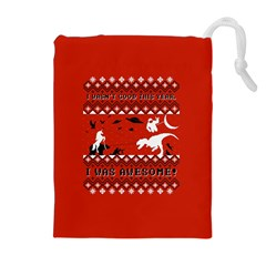 I Wasn t Good This Year, I Was Awesome! Ugly Holiday Christmas Red Background Drawstring Pouches (Extra Large)