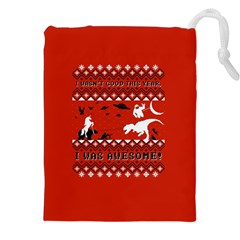 I Wasn t Good This Year, I Was Awesome! Ugly Holiday Christmas Red Background Drawstring Pouches (XXL)