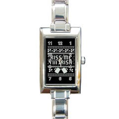 Kiss Me I m Irish Ugly Christmas Black Background Rectangle Italian Charm Watch