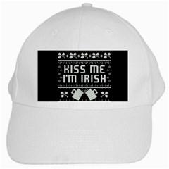 Kiss Me I m Irish Ugly Christmas Black Background White Cap