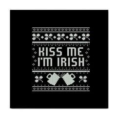 Kiss Me I m Irish Ugly Christmas Black Background Tile Coasters