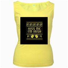 Kiss Me I m Irish Ugly Christmas Black Background Women s Yellow Tank Top