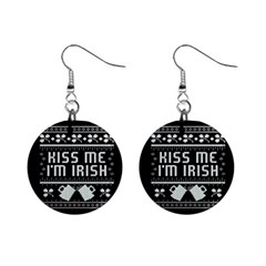 Kiss Me I m Irish Ugly Christmas Black Background Mini Button Earrings