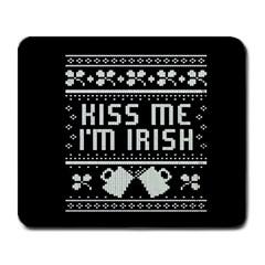 Kiss Me I m Irish Ugly Christmas Black Background Large Mousepads