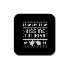 Kiss Me I m Irish Ugly Christmas Black Background Rubber Square Coaster (4 pack)