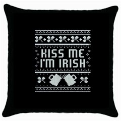 Kiss Me I m Irish Ugly Christmas Black Background Throw Pillow Case (Black)