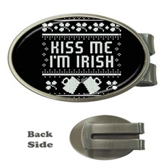 Kiss Me I m Irish Ugly Christmas Black Background Money Clips (Oval)