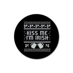 Kiss Me I m Irish Ugly Christmas Black Background Rubber Coaster (Round)