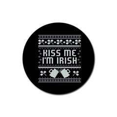 Kiss Me I m Irish Ugly Christmas Black Background Rubber Round Coaster (4 pack)